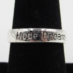 Size 8 Sterling Silver Hope Dream Believe Band